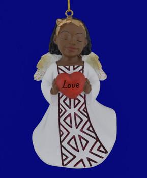 "African American Love Girl Angel Ornament - Figurine, 4 1/8"", PG19060"