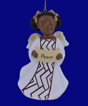 "African American Peace Girl Angel Ornament - Figurine, 4 1/8"", PG19061"