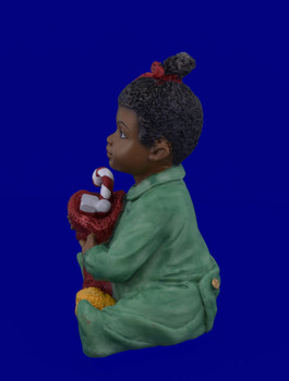 African American Toddler Girl with Christmas Stocking Figurine inset side view