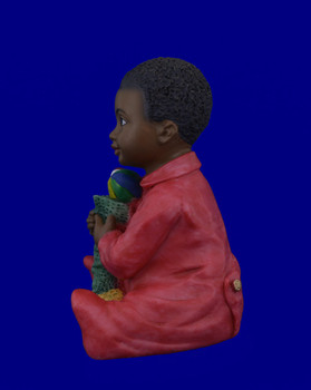 African American Toddler Boy with Christmas Stocking Figurine inset side view