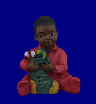 African American Toddler Boy with Christmas Stocking Figurine