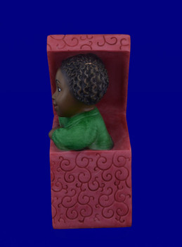African American Little Girl in Gift Box Christmas Figurine inset side view
