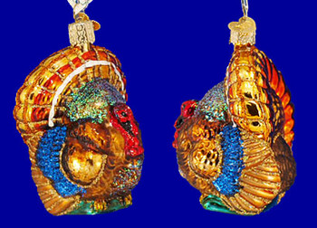 Turkey Thanksgiving Old World Christmas Glass Ornament 16015 inset