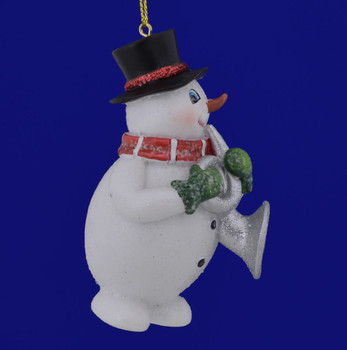 Snowman Musician with Horn Ornament C6778 side view