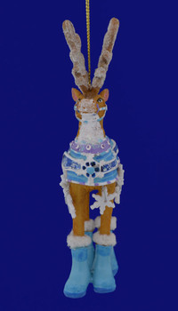 Dressed Up Reindeer Ornament D2537 front view