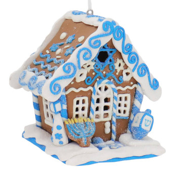 Hanukkah Gingerbread House Ornament with LED