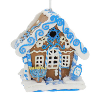 Hanukkah Gingerbread House Ornament with LED Front