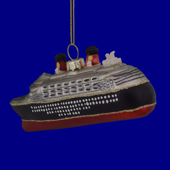 Silver Black Red Cruise Ship Ornament 133289 back view