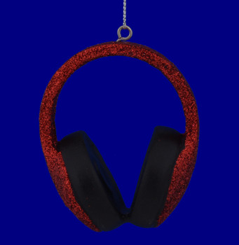 Red Headphones Ornament 110987  back view