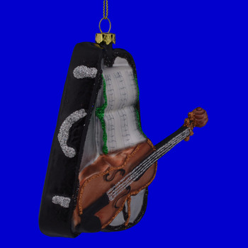 Violin with Case Glass Ornament 111020 side view