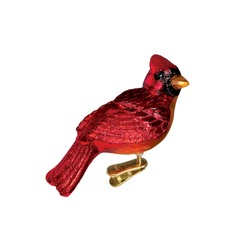Resting Cardinal Glass Ornament