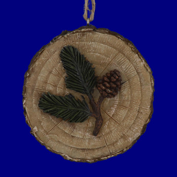 Slice of Log Ornament 134815 with pinecone