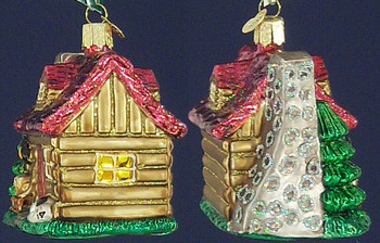 Christmas CabinCottage Old World Christmas Glass Ornament 20026 inset