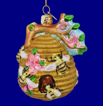 Honey Bees on Beehive Glass Ornament