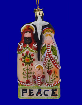 Holy Family with Halo Glass Ornament
