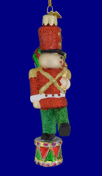 Toy Soldier on Drum Glass Ornament nb192 back view