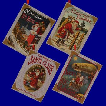Vintage Santa Christmas Story Book Ornaments