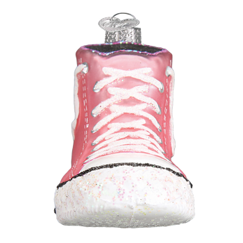 Pink Sneaker High-Top Glass Ornament front