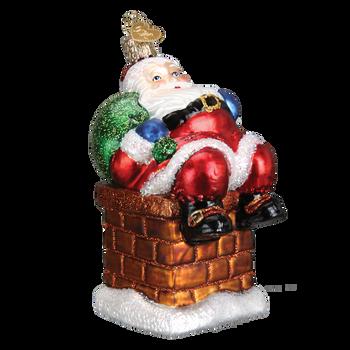 Chimney Stop Santa Glass Ornament