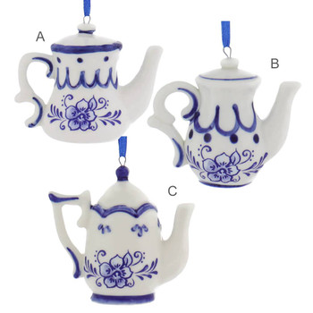 Delft Styled Blue and White Teapot Ornaments