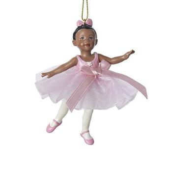 Small Black Little Girl Ballerina Ornament