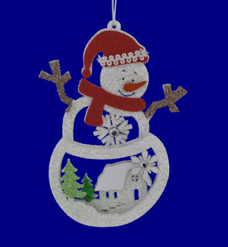 Glittered Wood Snowman with House Scene Ornament left