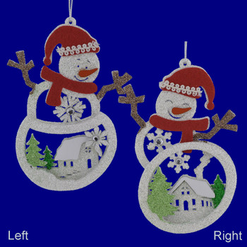 Glittered Wood Snowman with House Scene Ornaments