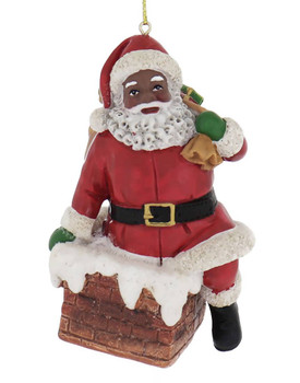Traditional Black Santa Christmas Ornament chimney front