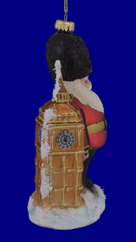 London Big Ben Beefeater Guard Glass Ornament right side