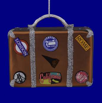 California, Italy, England Vacation Suitcase Glass Ornament