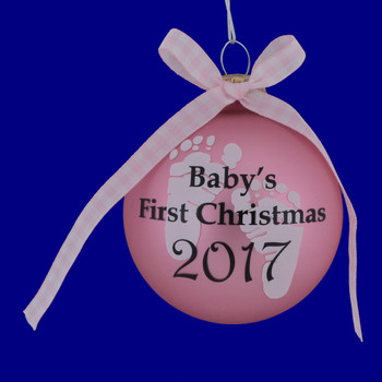Pink Girl Babys First Christmas Ornament inset