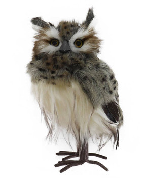 Mid-Sized Speckled Furry Hoot Owl Figurine