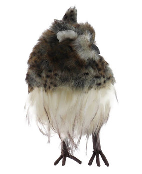 Mid-Sized Speckled Furry Hoot Owl Figurine front