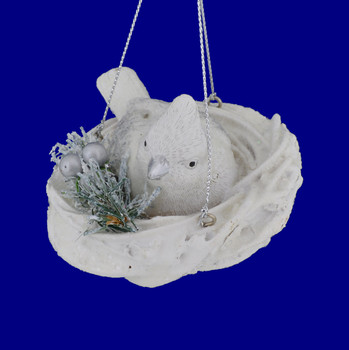 Snowy or Albino Cardinal in Nest Ornament side