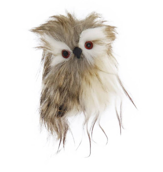 Brown Speckled Long Haired Furry Owl Ornament