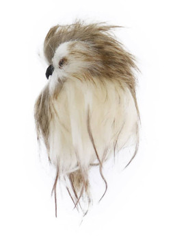 Brown Speckled Long Haired Furry Owl Ornament side