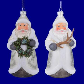 Owl or Deer Coat Lodge Theme Santa Glass Ornaments