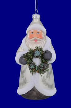Owl Coat Lodge Theme Santa Glass Ornament