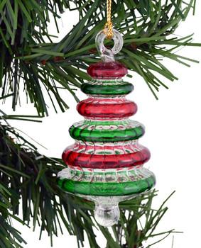 Christmas Tree Egyptian Glass Ornament on tree