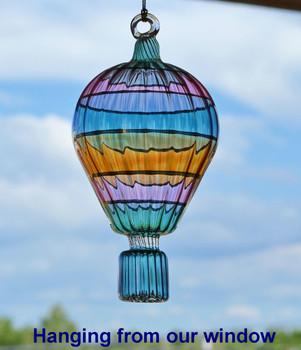 Hot Air Balloon Egyptian Glass Ornament natural light