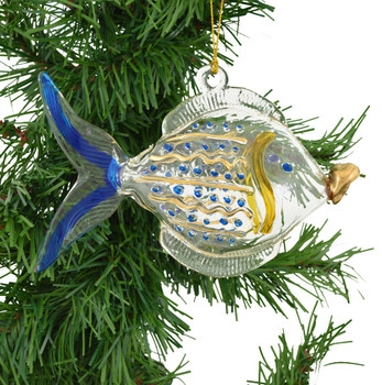 Big Mouth Fish Mouth-Blown Egyptian Glass Ornament on tree