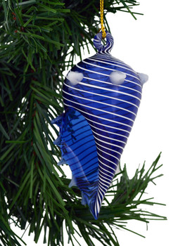 Blue Striped Seashell Mouth Blown Egyptian Glass Ornament  on tree