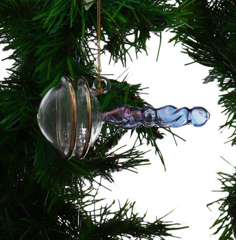 Blue Baby Boy Rattle Mouth-Blown Egyptian Glass Ornament Garland Side
