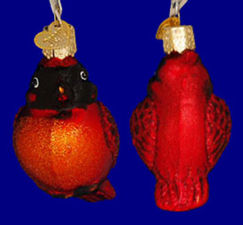 Mini Cardinal Bird Old World Christmas Glass Ornament 16080 inset