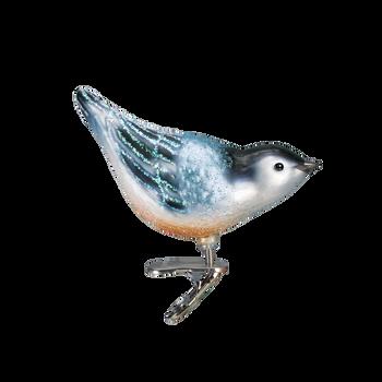 Nuthatch Clip On Bird Glass Ornament