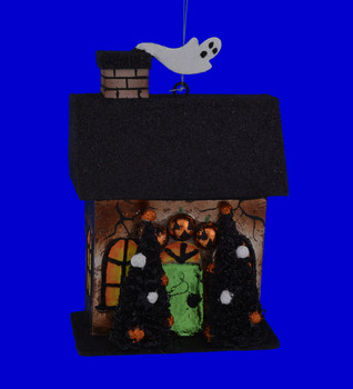 Metal Haunted House Ornaments Two Trees
