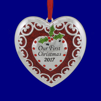 Dated 2017 Our First Christmas Heart Ornament