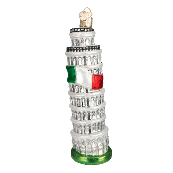 Italy Leaning Tower of Pisa Glass Ornament