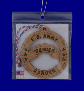 US Army Ranger Wood Ornament with packaging