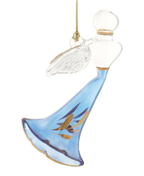 Flying Angel Mouth-Blown Egyptian Glass Ornament - Blue
